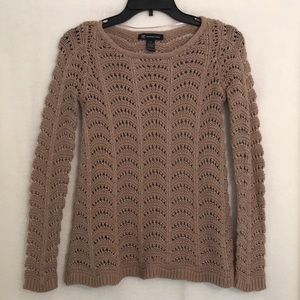 INC brown sweater with gold thread accent